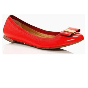 Kate Spade Red Patent Leather Tock Flats